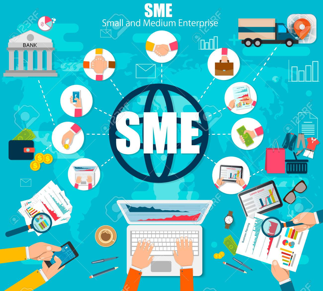 86382502 sme vector illustration small and medium enterprise word lettering illustration in business concept