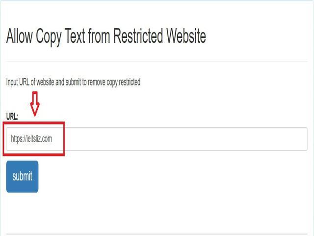 Dán link trang web cần copy nội dung vào ô URL