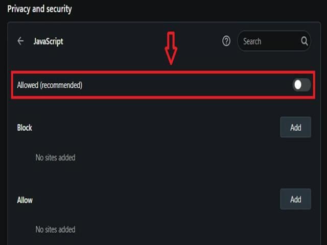 Kéo thanh trượt ở mục Javascript sang trái để vô hiệu quá mục này