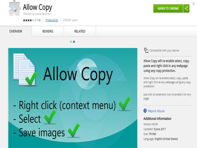 Tiện ích Allow copy - một trong 4 cách giúp copy nội dung từ web chặn copy