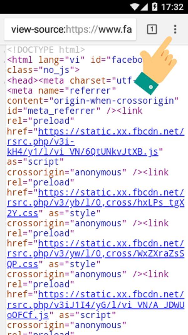Bấm vào biểu tượng dấu ba chấm ở góc trên bên phải màn hình để vào mục Tìm Trong Trang