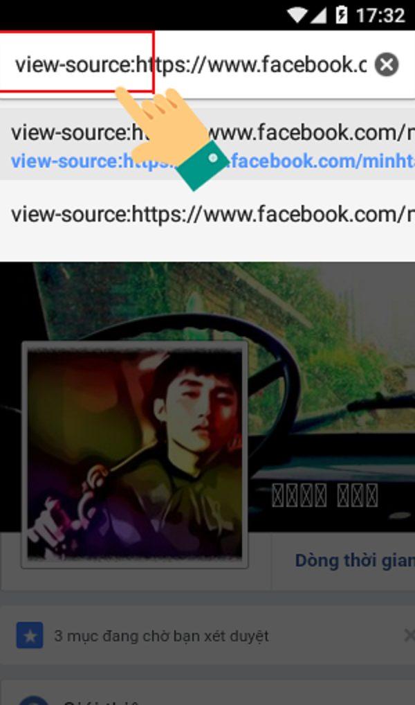 """Điền thêm dòng chữ """"view-source"""" vào phía trước địa chỉ trang cá nhân facebook"""